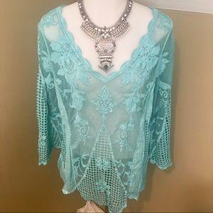 India Boutique Women's Aqua Blue Lace Tunic